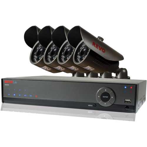 Revo Lite 4-Channel 500GB 960H DVR Surveillance System with Four 700TVL Bullet Cameras