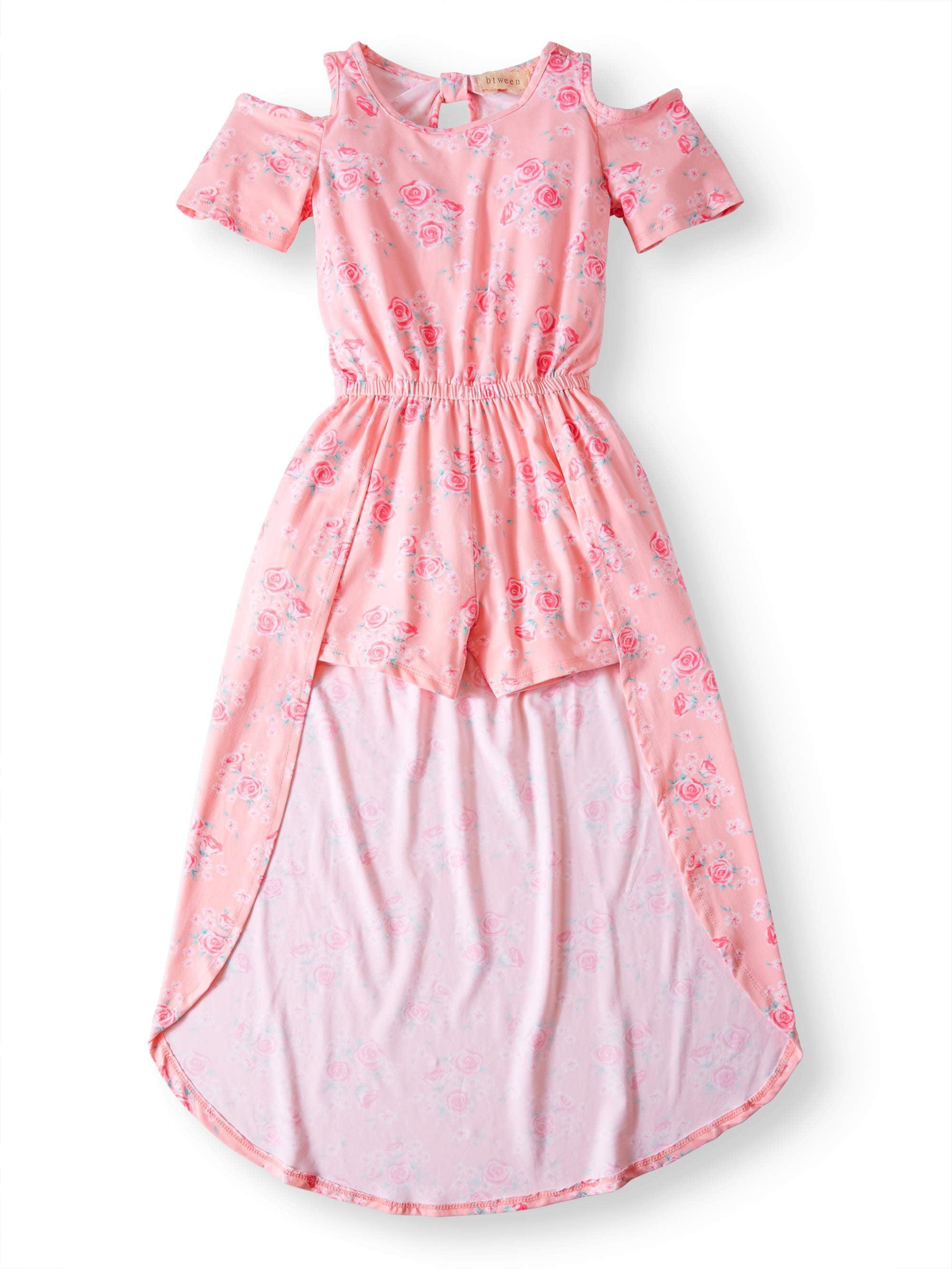 Big Girls' Floral Walk-Thru Romper Dress