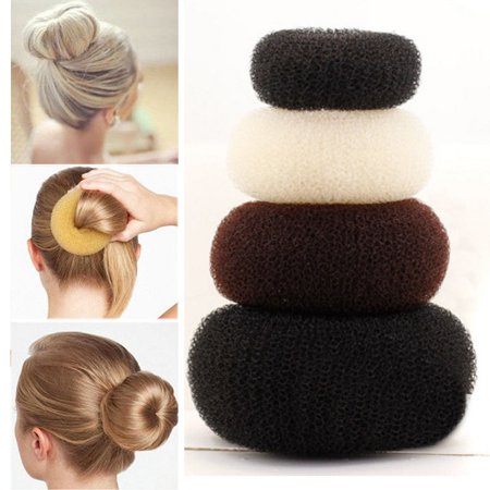 2PCS WOMEN FASHION HAIR BUN DONUT SHAPER RING STYLER FORMER STYLE DOUGHNUT TIE UPDO UP DO (Hair Donut)