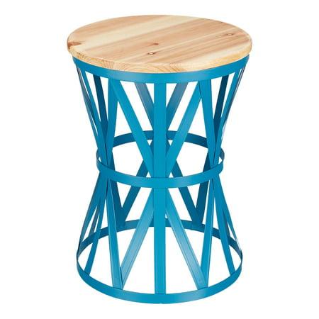 Sensational Mainstays Forset 18 Teal Metal Garden Stool With Wood Top Creativecarmelina Interior Chair Design Creativecarmelinacom