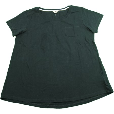 Woolrich Womens Size Medium Short Sleeve Crew Neck Pleated Back Tee With Front Pocket, Black