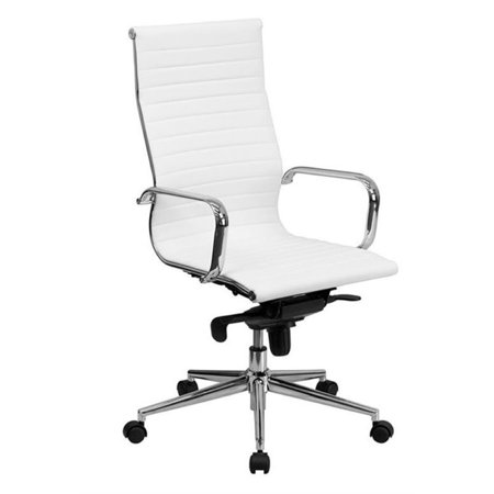Bowery Hill High Back Ribbed Leather Office Chair in White - image 2 de 2
