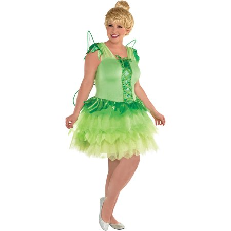 Peter Pan Tinker Bell Costume for Women, Plus Size, Includes Dress and Wings (Peter Pan And Tinkerbell Costume)