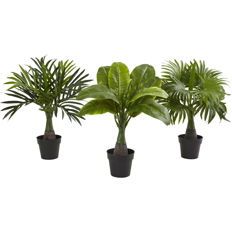 Nearly Natural Areca, Fountain and Banana Palm, Set of 3