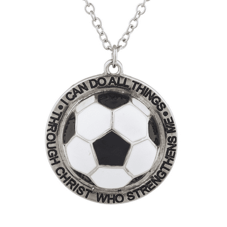 Lux Accessories Silver I Can Do All Things Religious soccer ball Charm Necklace - Soccer Jewelry