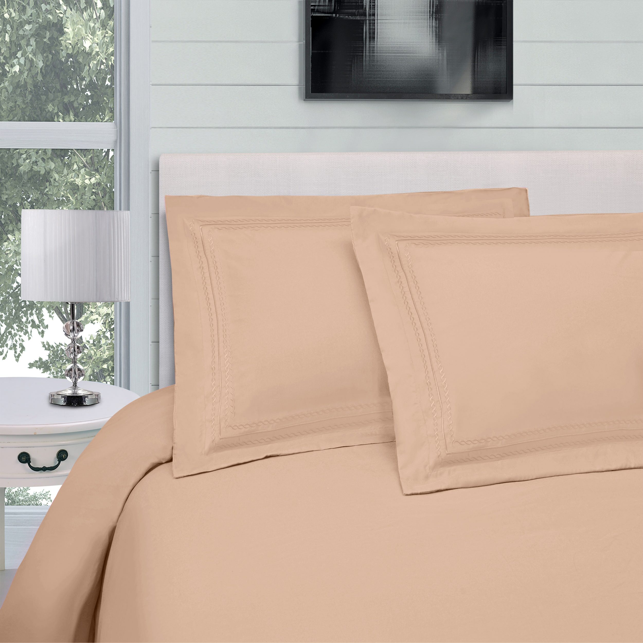 Superior Wrinkle Resistant Duvet Cover Set with Infinity Embroidery