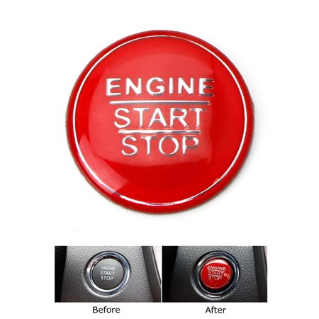 iJDMTOY (1) Gloss Red Keyless Engine Push Start Button Cover For Toyota Camry Tacoma Prius Avalon Mirai etc w/Push Start Engine On/Off