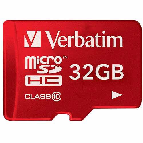 Verbatim Tablet 32GB microSDHC Class 10 Memory Card, Red