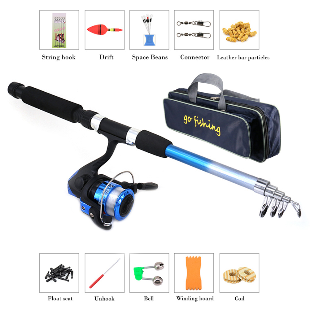 Kids Fishing Pole Rod and Reel Combos Fishing Beginners Starter Kit Full Rod Set Festival Kit for Kids Travel Spinning Fishing