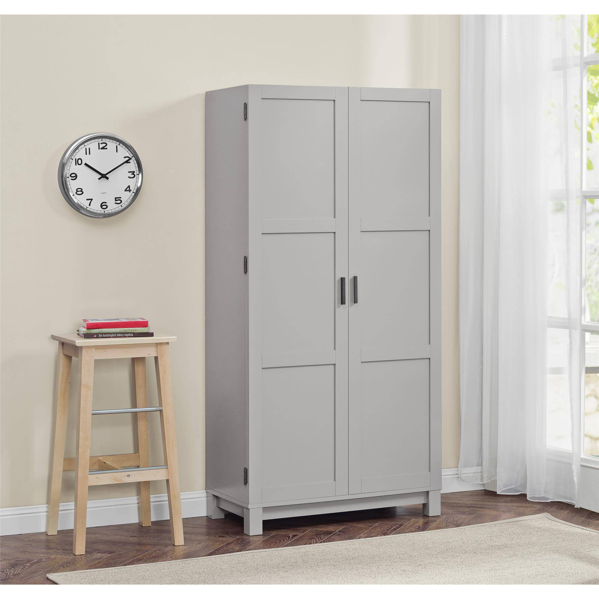 "Better Homes and Gardens Langley Bay 64"" Storage Cabinet, Gray/Sonoma Oak"