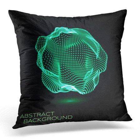 Glowing Sphere - ARHOME Mesh 3D Deformed Glowing Sphere Consists of Particles Technology Concept for Science Technical Design Pillow Case Pillow Cover 20x20 inch