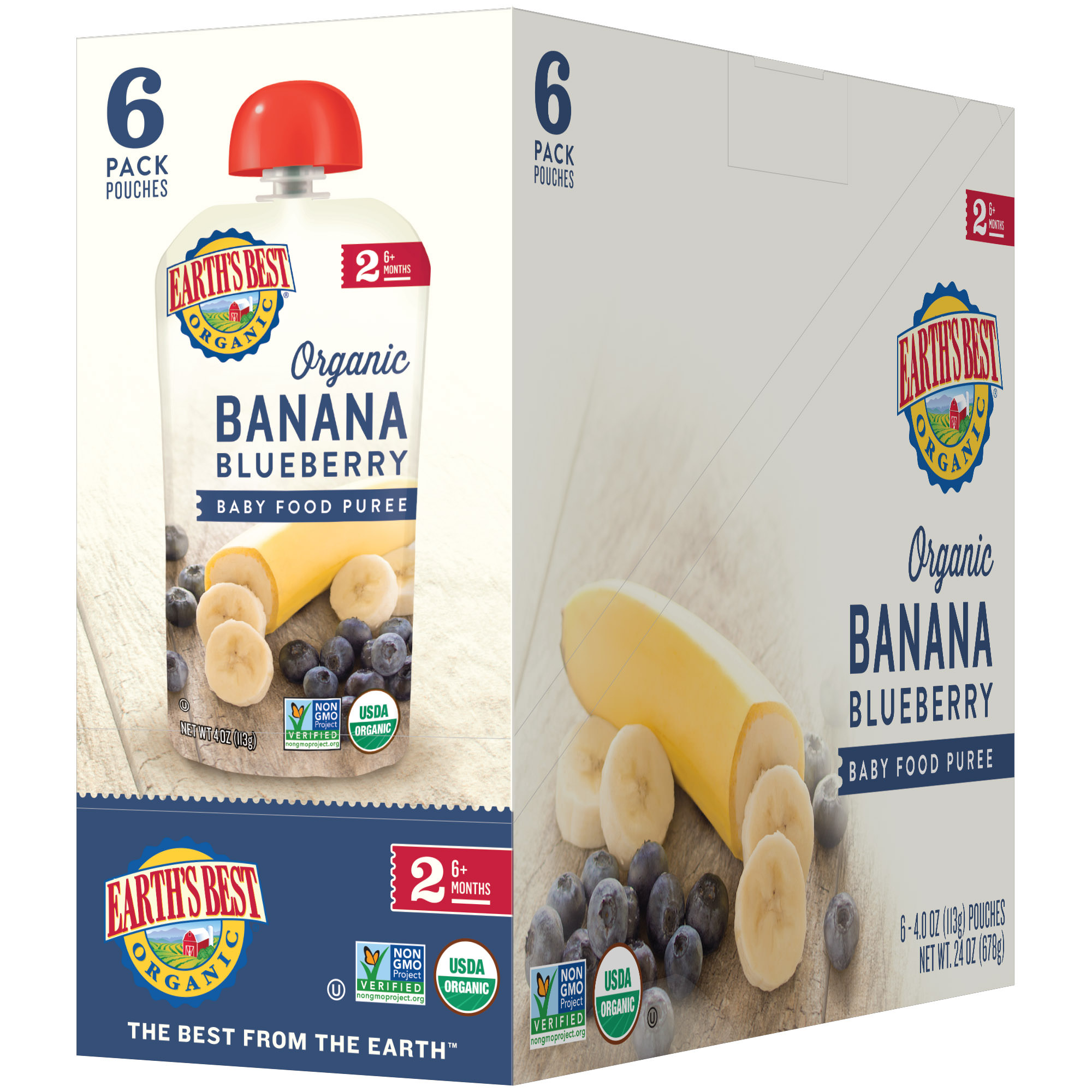 Earth's Best Organic Stage 2, Banana Blueberry Puree, 4 Ounce Pouch (Pack of 6)