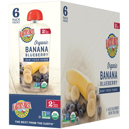 Earth's Best Organic Stage 2, Banana Blueberry Puree, 4 Ounce Pouch (Pack of
