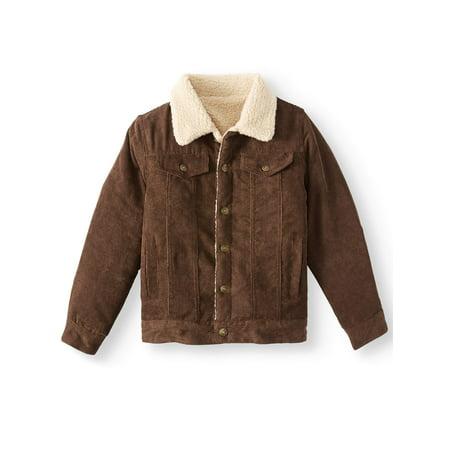 Bocini Cord Trucker Jacket with Sherpa Lining (Little Boys & Big Boys) - Boy Leather Jacket