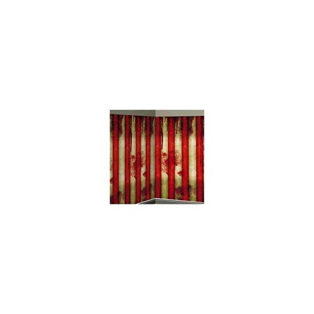 amscan creepy carnival stripe halloween trick or treat party scene setters room roll decoration, red/white, 40' for $<!---->