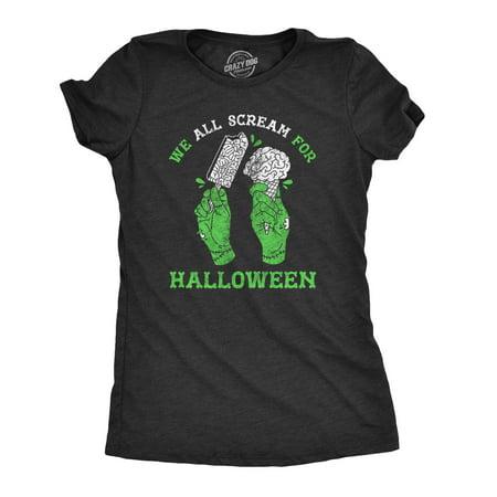 Black Halloween Punch Dry Ice (Womens We All Scream For Halloween Tshirt Funny Ice Cream Brains Zombie)