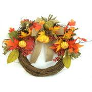 Yellow Mixed Pumpkins Harvest Half Wreath Fall Harvest Halloween Decoration