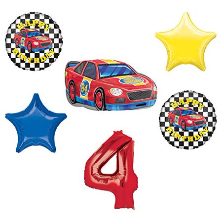 Race Car Theme 4th Birthday Party Supplies Stock Car Balloon Bouquet Decorations](Car Themed Birthday Decorations)