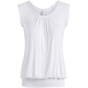 Short Sleeve Top Loose Fit Top for Women Scoop Neck Gathered Banded Shirt - USA