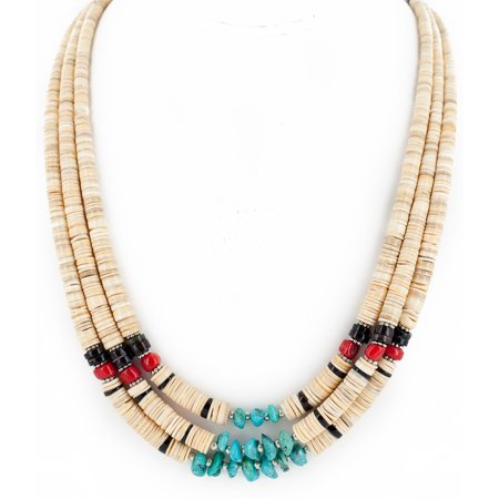 Certified Authentic 3 Strand Navajo .925 Sterling Silver Natural Turquoise Coral Graduated Melon Shell Native American Necklace