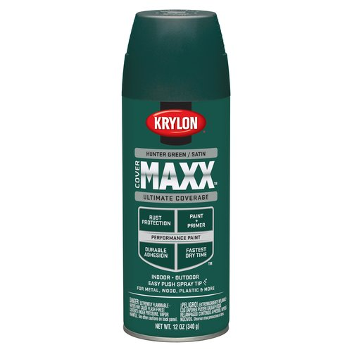 Krylon CoverMaxx Spray Paint, Satin Hunter Green