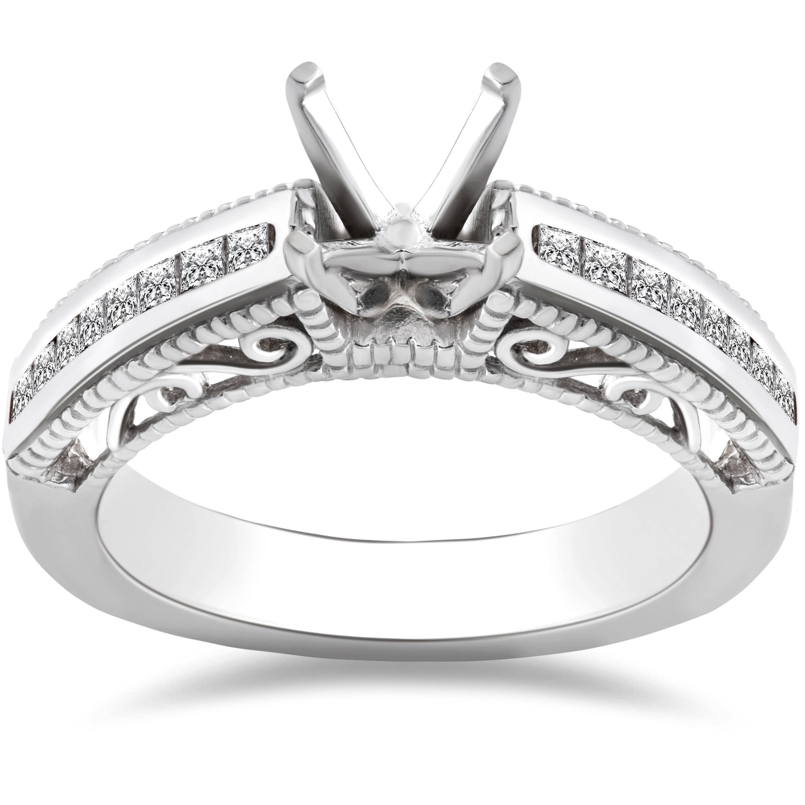 Pompeii3 3/8ct Princess Cut Diamond Engagement Ring Setti...