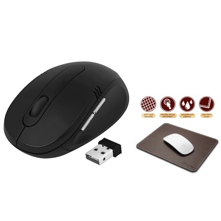 Insten Wireless Mouse for Laptop Black 2.4GHz DPI 800 1200 1600 with Nano Receiver +  Mouse Pad Brown Leather (7 x 8.7