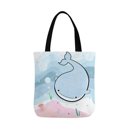 HATIART Funny Comic Sea Whale and Jelly Fish in the Ocean Canvas Tote Bag Resuable Grocery Bags Shopping Bags Perfect for Crafting Decorating for Women Men Kids - image 2 of 3