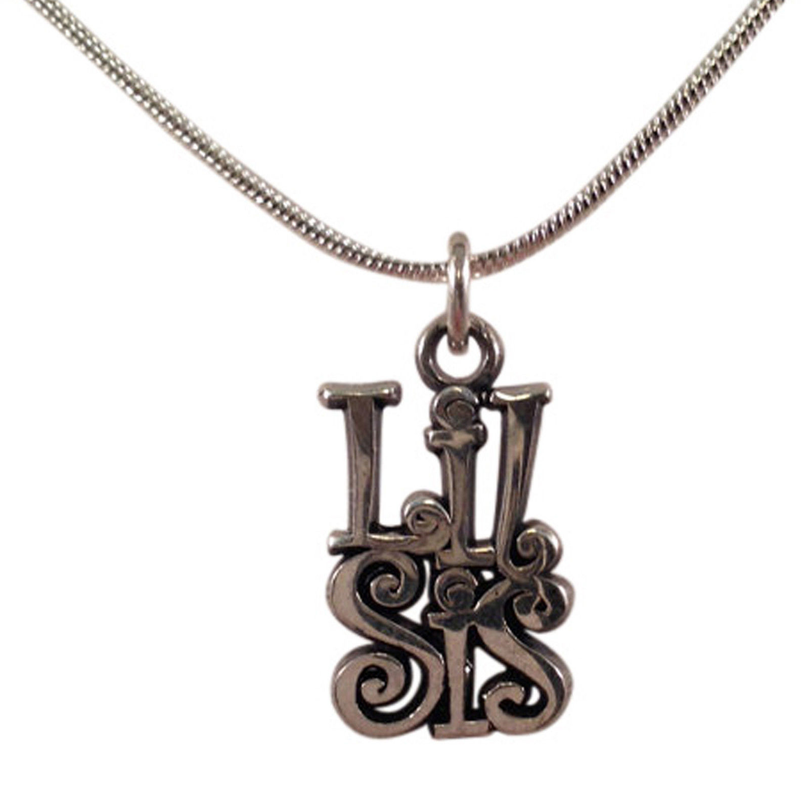 """Lil Sis"" Sterling Silver Sorority  Curlz Charm with Necklace"