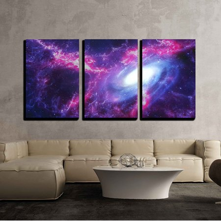Decor Spice - wall26 - 3 Piece Canvas Wall Art - Space Background with Nebula and Galaxy - Modern Home Decor Stretched and Framed Ready to Hang - 16