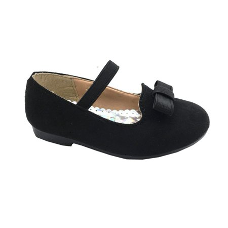 Bee Happy Girls Black Bow Accent Elastic Strap Casual Shoes