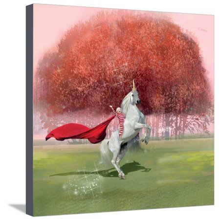 Unicorn Ride Fantasy Dream Landscape Childrens Room Stretched Canvas Print Wall Art By Nancy Tillman