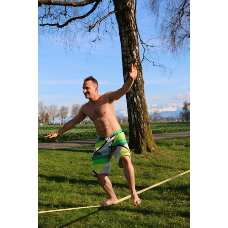 Slackline For Kids (Framed Art For Your Wall Sport Leisure Fun Balance Slackline 10x13)