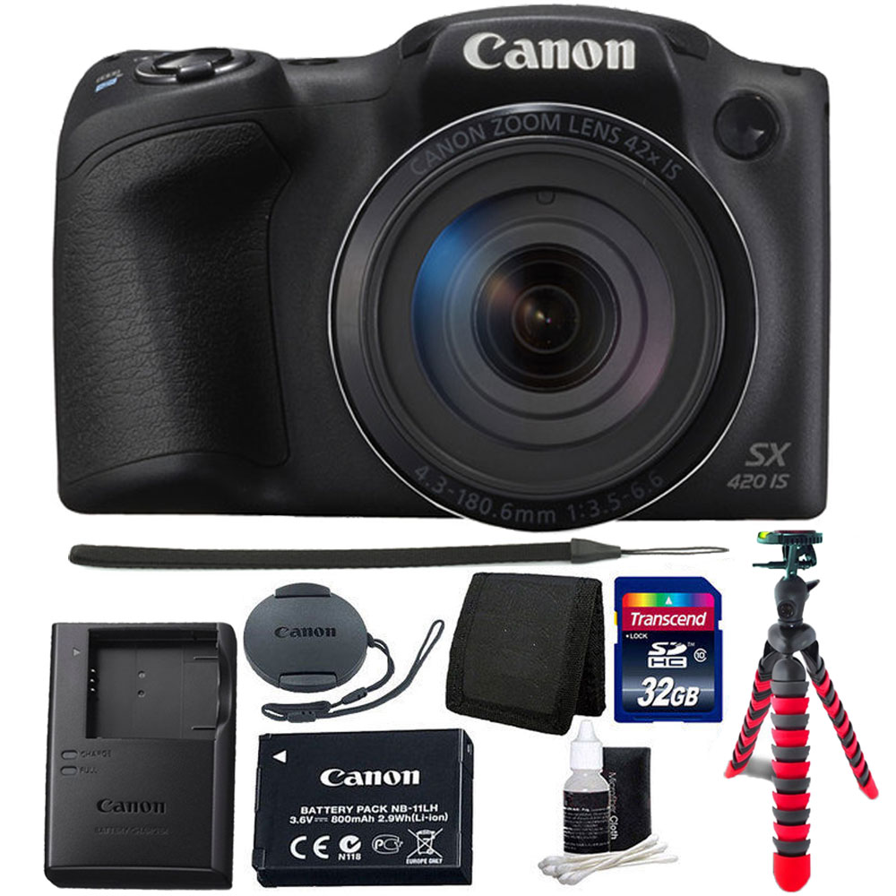"Canon PowerShot SX420 IS 20.0MP HD 720p Video Recording 1.2.3"" CCD 42x Optical Zoom Lens 24-1008mm (35mm Equivalent) Built-In Wi-Fi ISO 1600 Black Digital Camera 32GB Accessory Kit Black"