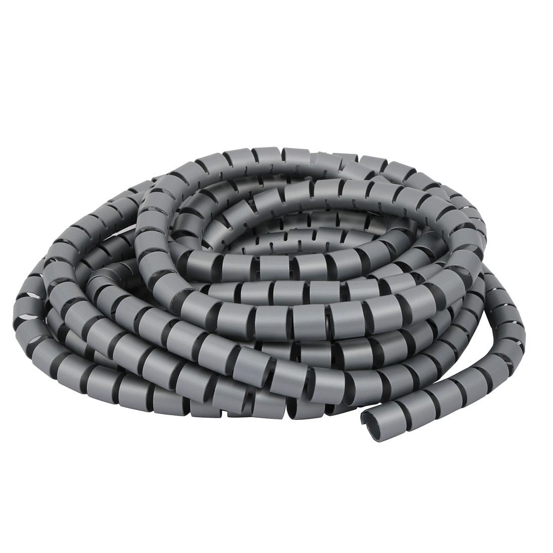 Unique Bargains Flexible Spiral Tube Cable Wire Wrap Gray 15mm Dia x ...