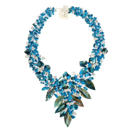 Fashion Floral Bouquet Stone and Shell Tapered Necklace (Philippines) Green Turquoise