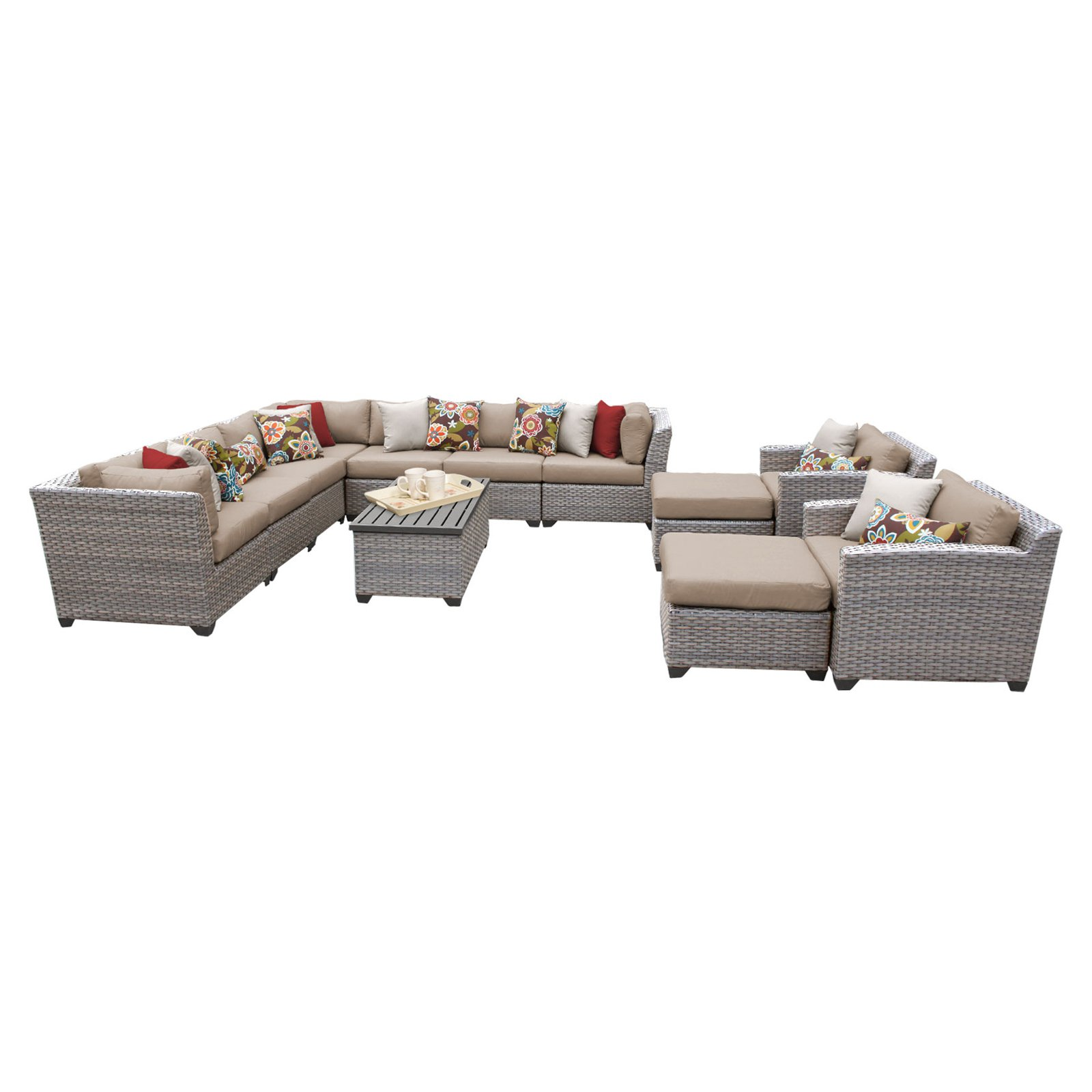 TK Classics Florence Wicker 13 Piece Patio Conversation Set with 2 Sets of Cushion Covers by Delacora