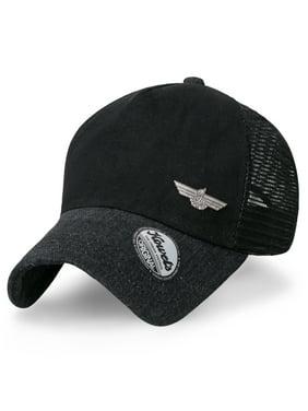 c39a4281 Product Image ililily Howels Denim Solid Color Baseball Cap Metal Badge Mesh  Trucker Hat , Ebony