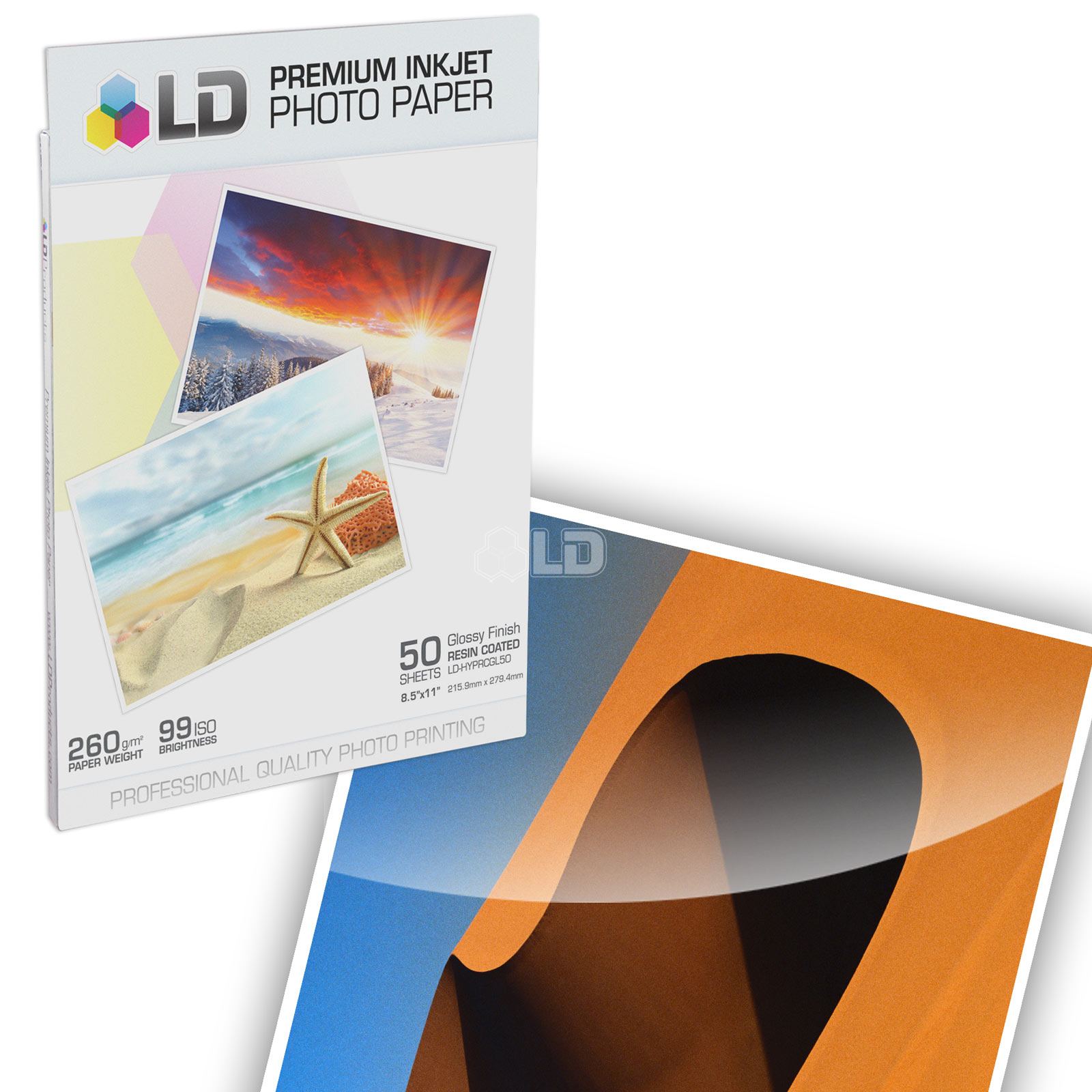 LD  Premium Glossy Inkjet Photo Paper (8.5X11) 50 pack - Resin Coated