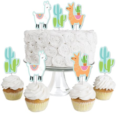 Whole Llama Fun - Dessert Cupcake Toppers - Llama Fiesta Baby Shower or Birthday Party Clear Treat Picks - Set of 24 - Baby Shower Dessert Table