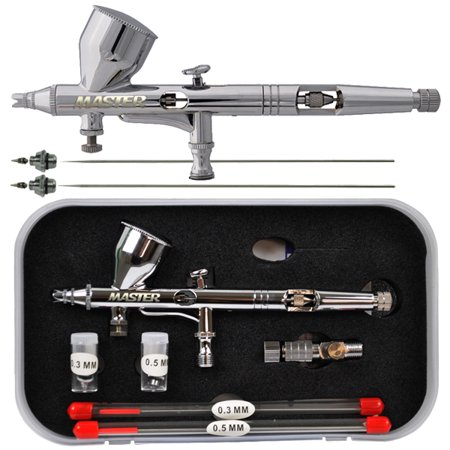 3 Tip Master G444 Dual Action Gravity Airbrush Pro Set Kit Hobby Auto Paint Cake