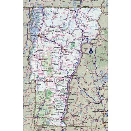 Laminated Map - Large detailed roads and highways map of Vermont state with all cities Poster 24 x 36 ()