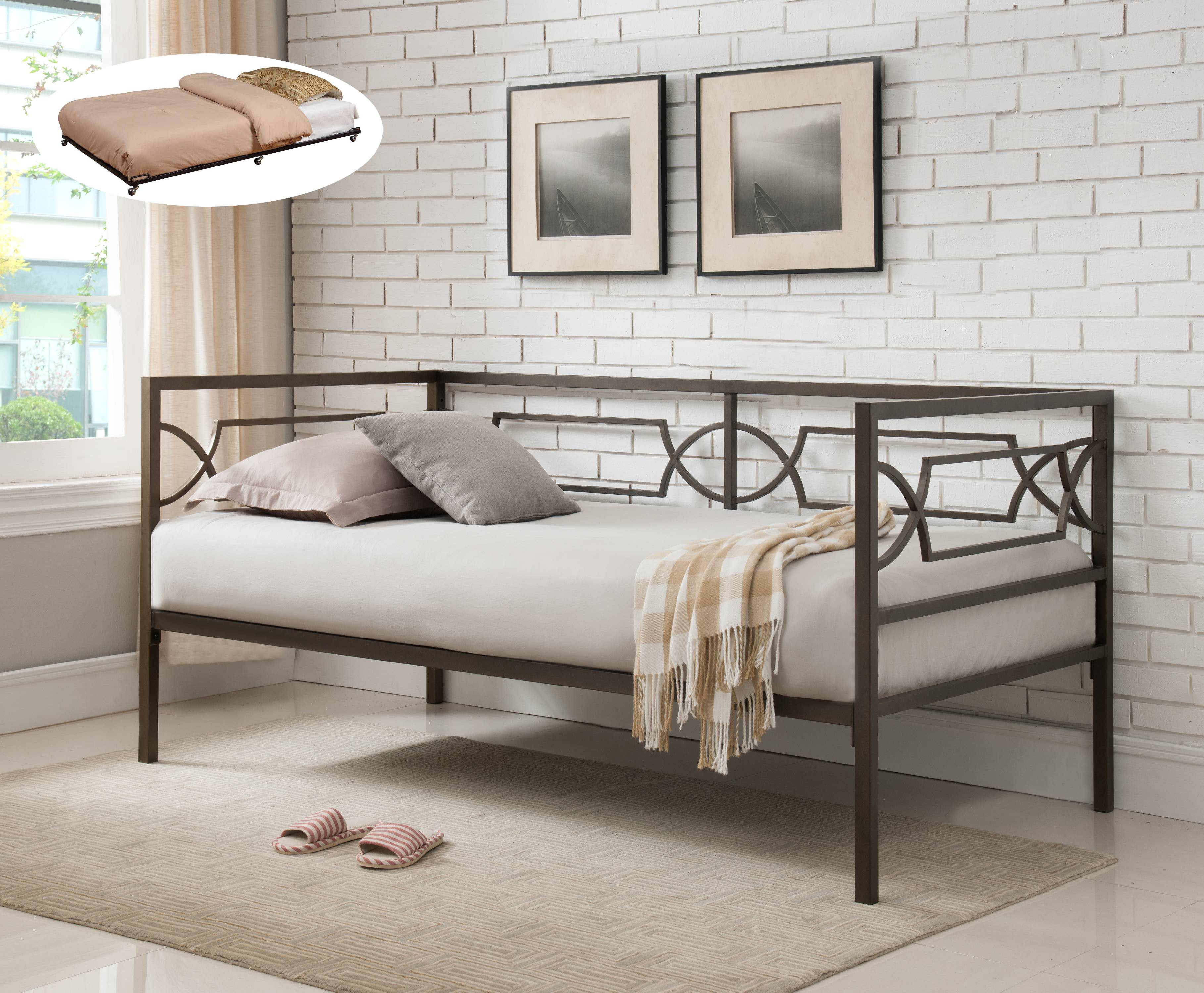 Vegas Pewter Twin Size Metal Day Bed Frame With Black Roll Out Trundle,  Headboard,