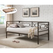 vegas pewter twin size metal day bed frame with black roll out trundle headboard