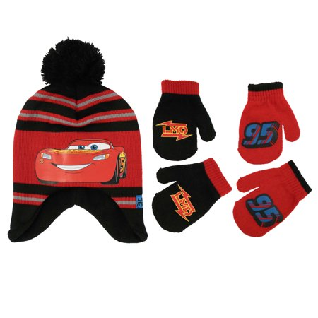 39ee3dcf7e9 Disney - Disney Cars Little Boys Hat and 2 Pair Mittens or Gloves Cold  Weather Accessory Set - Walmart.com