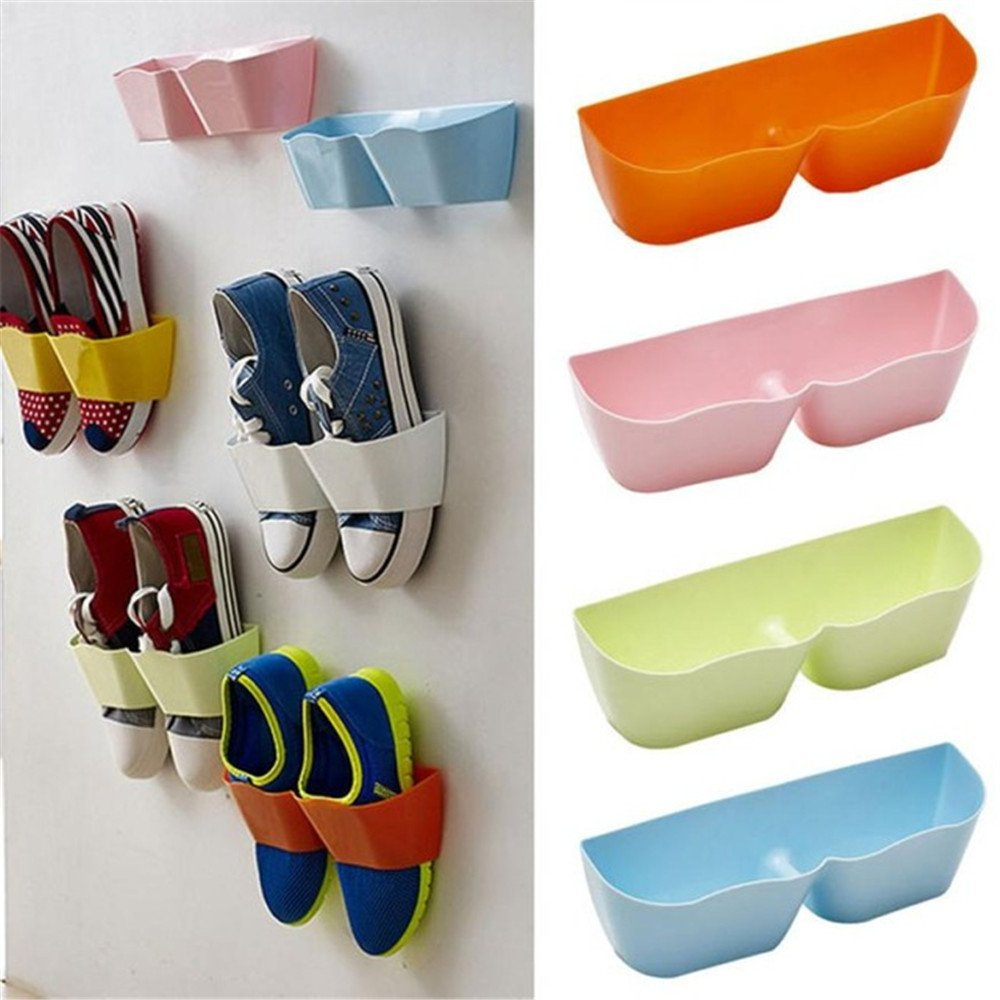 Wall Mounted Shoes Rack - 4 PCS Plastic Shoe Storage Racks for Entryway Over the Door Shoe Hangers Organizer Hanging
