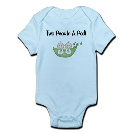 CafePress - Two Peas In A Pod Twins Infant Bodysuit - Baby Light