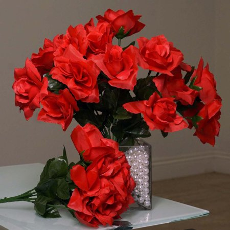 84 Artificial Silk Open Roses Wedding Flower Bouquet Centerpiece Decor - Silk Red Roses