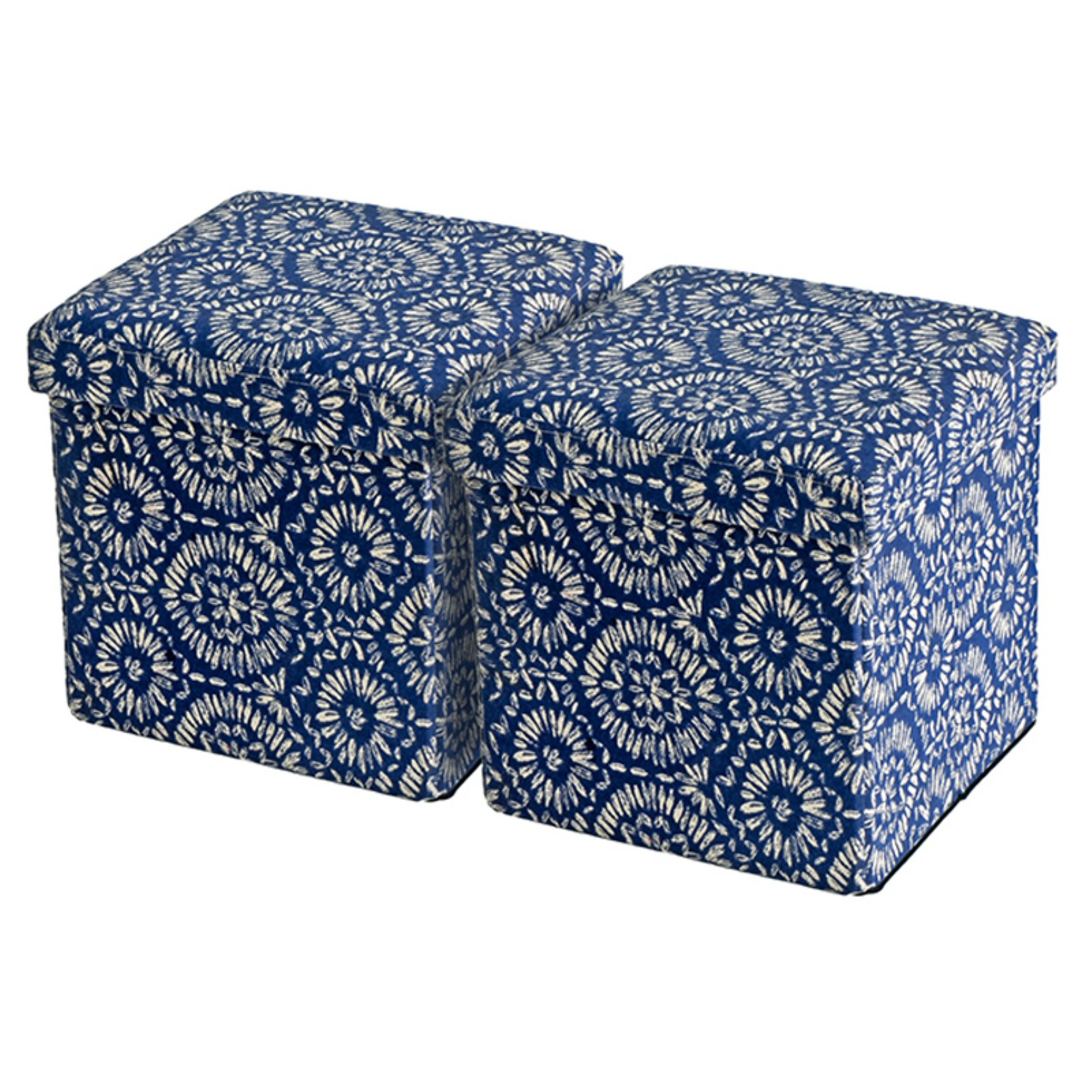 Creative Living Folding Storage Ottoman - Blue