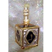 """4.5"""" Noble Gems Gold Hanukkah Chanukah Glass Dreidel Jewish Ornament"""